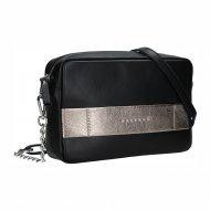 Dámská kožená kabelka FACEBAG NINA - Černá + zlatá
