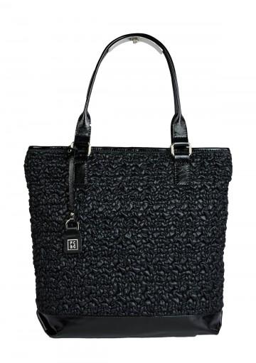 Dámská látková kabelka FACEBAG JANA - Černá látka krep + kůže