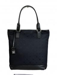 Dámská látková kabelka FACEBAG JANA - Černá potisk + kůže