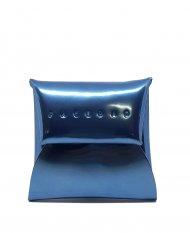 Kožený mincovník FACEBAG - Světlá modrá lak