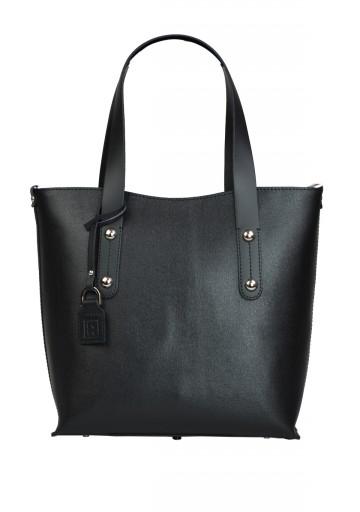 Dámská kožená kabelka FACEBAG IRENE - Černá