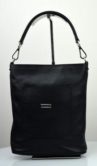 Dámská kožená kabelka FACEBAG LINA - Černá