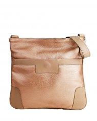 Dámská kožená kabelka FACEBAG ANDY - Metalická růžová *dolaro*