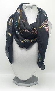 Dámský šátek ze směsi hedvábí a viskózy černý s motivem