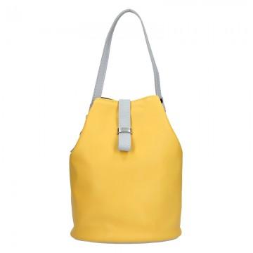 Dámská kožená kabelka FACEBAG KUKY - Žlutá