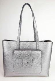 Dámská italská kožená kabelka 6554 - Stříbrná *dolaro*