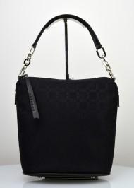 Dámská kožená kabelka FACEBAG MOLY - Kombinace látky a kůže - Černá