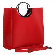 Luxusní dámská kožená kabelka FACEBAG ANGE 1 - Červená hladká
