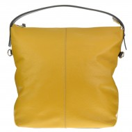 Dámská kožená kabelka FACEBAG ELA - Tmavá žlutá + hnědá