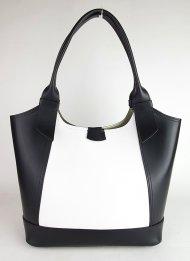 Dámská italská kožená kabelka RIPANI 6065 HH AITA - Černá + bílá *ruga*