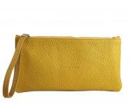 Dámská kožená taštička do ruky FACEBAG ELEN - Tmavá žlutá *dolaro*
