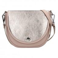 Dámská kožená kabelka FACEBAG LILI - Pudrová + zlatá