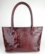 Dámská italská kožená kabelka 122702 - Vínová *kroko* lak