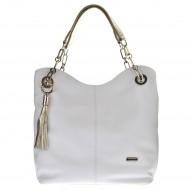 Dámská kožená kabelka FACEBAG AGATA - Bílá + zlatá