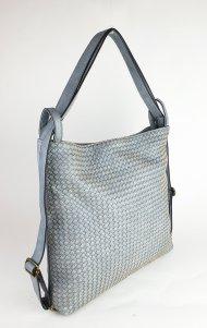 Dámská italská koženková kabelka MIX VI. - Světlá modrá proplétaná
