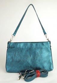 Dámská italská kožená kabelka 3118 - Metalická tmavá zelená hladká