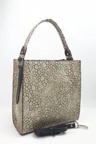 Dámská kožená kabelka FACEBAG ANGE - Béžová *bubliny lak*