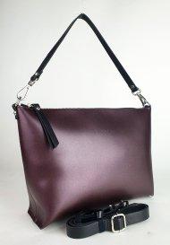 Dámská kožená kabelka FACEBAG RACHEL -  Metalická vínová *ruga*