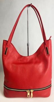 Dámská italská kožená kabelka SOLA - Červená