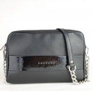 Dámská kožená kabelka FACEBAG NINA - Černá s lakovaným páskem hladká