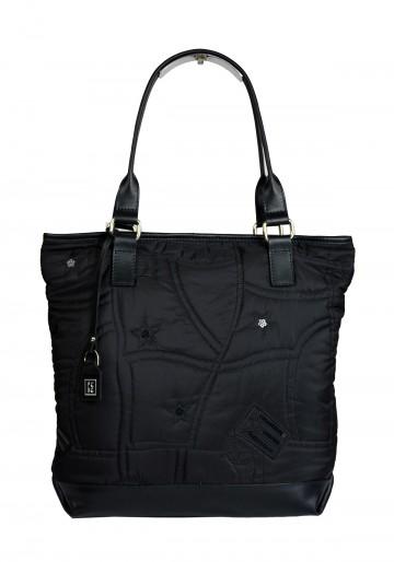 Dámská látková kabelka FACEBAG JANA - Černý šusták + kůže