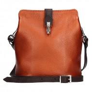Dámská kožená kabelka FACEBAG ANNA S. - Metalická cihlová + hnědá