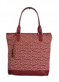 Dámská látková kabelka FACEBAG JANA - Červeno-bílá látka + kůže