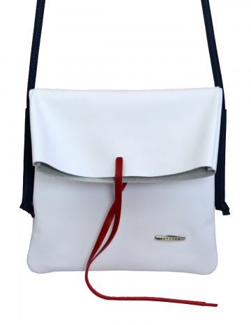 Dámská kožená kabelka FACEBAG NICOLA - Bílá + modrá + červená