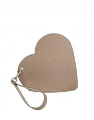 Elegantní dámské kožené psaníčko do ruky FACEBAG srdce - Pudrová + bílá