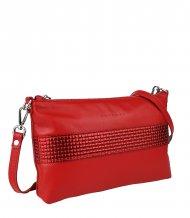 Dámská kožená kabelka FACEBAG MARY - Červená s pleteným vzorem