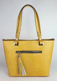 Dámská italská kožená kabelka 3249 - Tmavá žlutá *kroko*
