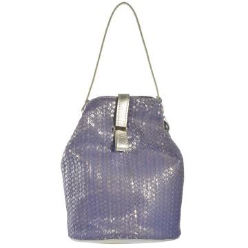 Dámská kožená kabelka FACEBAG KUKY - Pletená fialová