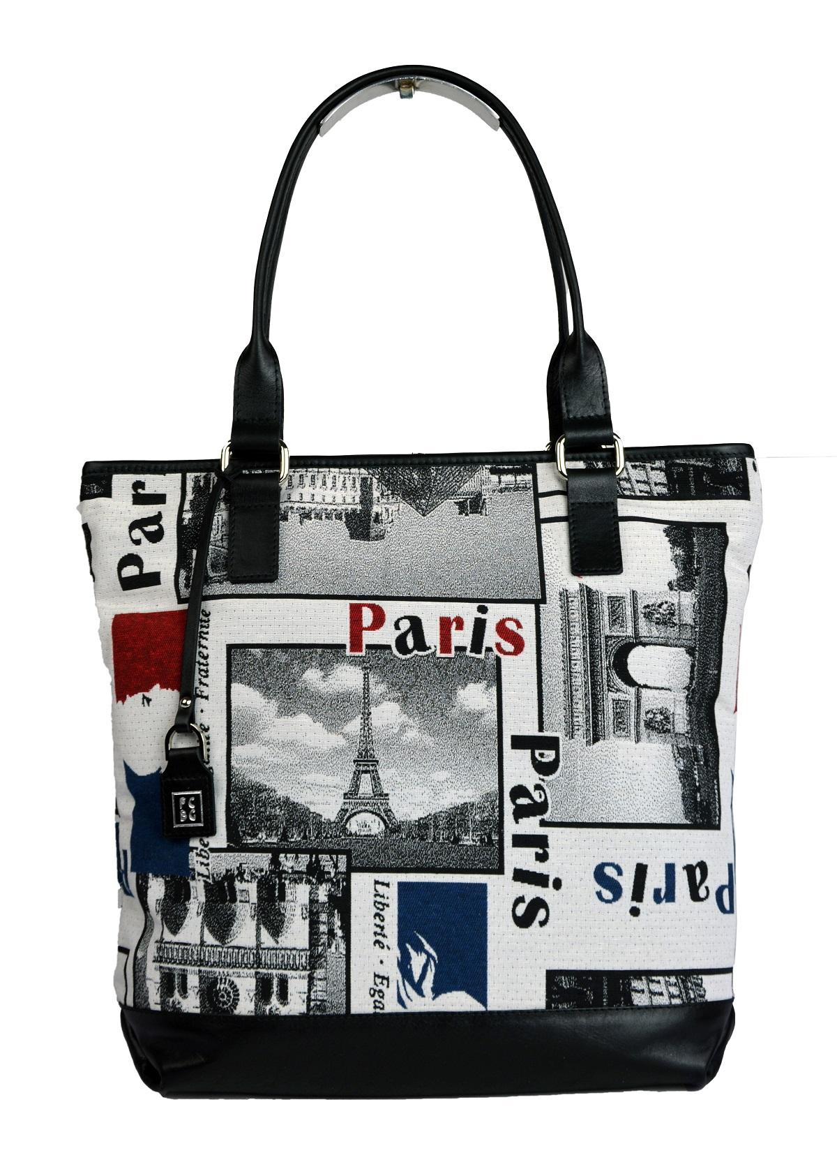 Dámská látková kabelka FACEBAG JANA - Paris látka + kůže