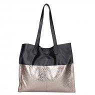 Dámská kožená kabelka FACEBAG LIMOSA - Černá v kombinaci se zlatou