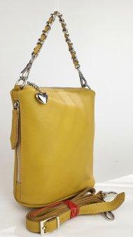Dámská kožená kabelka FACEBAG EMMA I. - Tmavá žlutá hladká