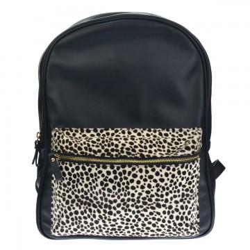 Luxusní kožený batoh FACEBAG TONY - Černý v kombinaci s kožešinou