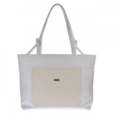 Dámská kožená kabelka FACEBAG SACCA - Bílá s perforovanou kapsou
