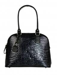 Dámská kožená kabelka FACEBAG GIULIANA - Černé kroko v laku