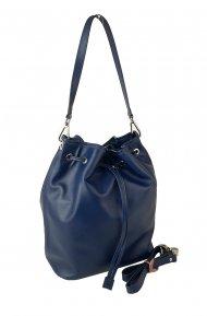 Dámská kožená kabelka FACEBAG HARVY - Modrá hladká