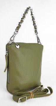 Dámská kožená kabelka FACEBAG EMMA I. - Tmavá zelená hladká