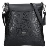 Dámská kožená kabelka FACEBAG SISA - Černá se vzorem květin