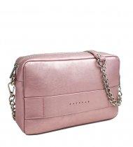 Kožená crossbody kabelka Nina růžová metalická