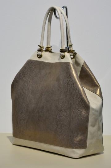 Dámská kabelka FACEBAG SERENA v kombinaci látky a kůže - zlatá + béžová