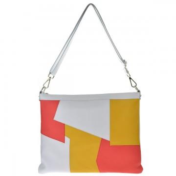 Dámská kožená kabelka FACEBAG EDIA - Bílá + patchwork
