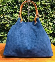 Dámská italská kožená kabelka 3970 - Modrá