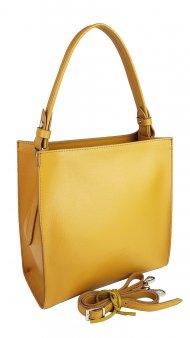 Dámská kožená kabelka FACEBAG ANGE - Tmavá žlutá *safiano*