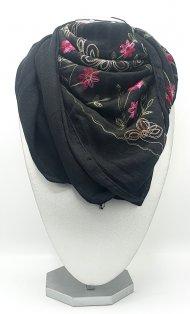 Dámský šátek ze směsi bavlny a viskózy černý s motivem květin
