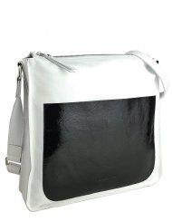 Dámská kožená kabelka FACEBAG AMY - Bílá hladká s černou lakovou kapsou