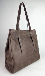 Dámská kožená kabelka FACEBAG CLAIRE - Tmavá taupe vintage