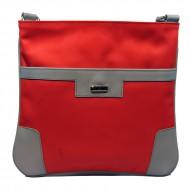 Dámská kožená kabelka FACEBAG ANDY -  Korálová + šedá